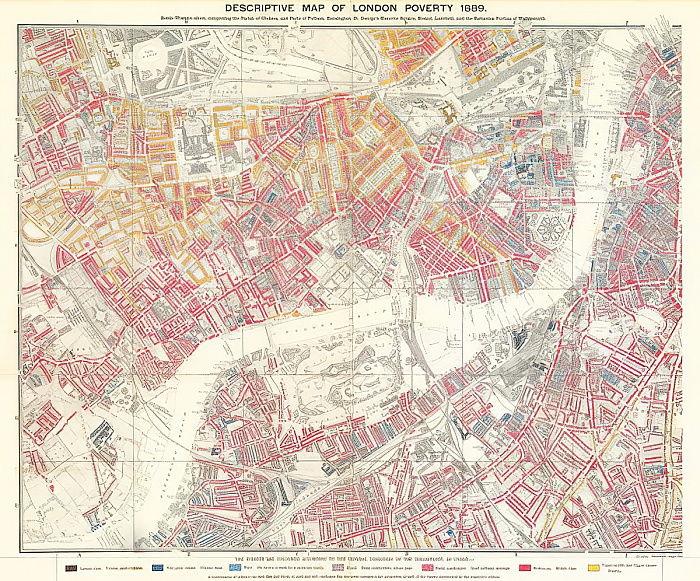 1889年のロンドンの貧困の説明図...