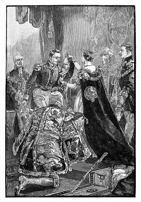 1855年、1888年、ガーター騎士団と共にフランス皇帝に投資した女王1855年、1888年、ガーター騎士団と共にフランス皇帝に投資した女王